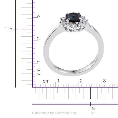 RHAPSODY 950 Platinum 1.15 Carat AAAA Kanchanaburi Blue Sapphire Round Halo Ring, Diamond VS E-F.