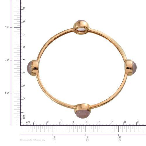 Rose Quartz (Rnd) Bangle (Size 7.5) in 14K Gold Overlay Sterling Silver 15.000 Ct.