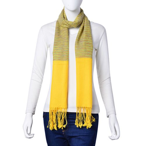 100% Wool Yellow, Green and Multi Colour Stripes Pattern Scarf with Tassels (Size 170X66 Cm)