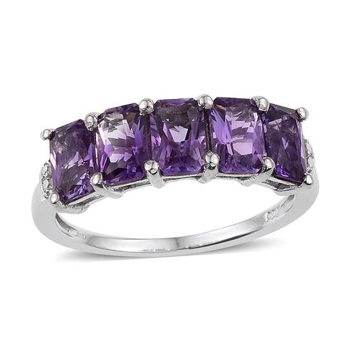 AA Lusaka Amethyst (Oct) 5 Stone Ring in Platinum Overlay Sterling Silver 2.750 Ct.