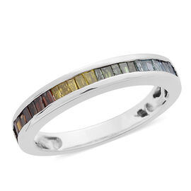 Multi Colour Diamond (Bgt) Half Eternity Band Ring in Black Rhodium and Platinum Overlay Sterling Silver 0.500 Ct.