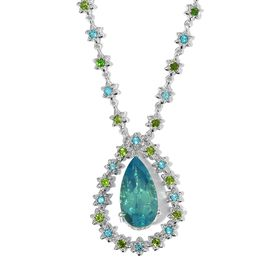 Peacock Quartz (Pear 9.30 Ct), Russian Diopside and Signity Pariaba Topaz Necklace (Size 18) in Platinum Overlay Sterling Silver 11.500 Ct. Silver wt 13.15 Gms.