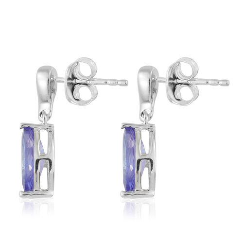 9K White Gold AA Tanzanite (Mrq), Diamond Earrings (with Push Back) 1.600 Ct.