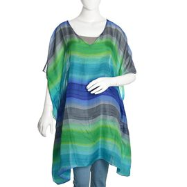 Brand New - 100% Mulberry Silk Blue, Green and Multi Colour Stripes Printed Kaftan (Size 170X70 Cm)