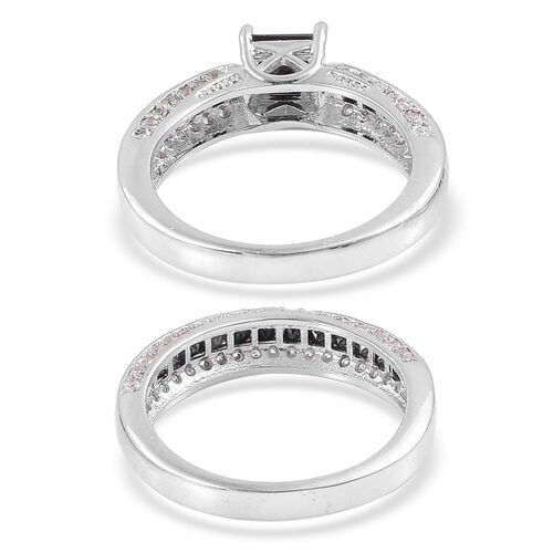 Set of 2 - AAA Simulated Black Spinel and Simulated White Diamond Ring in Silver Tone