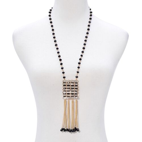 AAA White Austrian Crystal and Simulated Black Spinel Necklace (Size 26 with 3 inch Extender) in Yellow Gold Tone