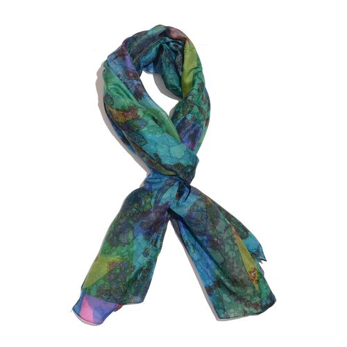 100% Mulberry Silk Blue, Green and Multi Colour Handscreen Floral and Paisley Printed Scarf (Size 180x100 Cm)