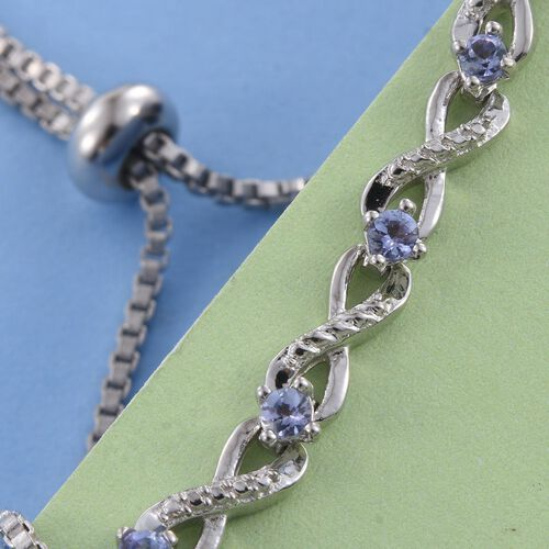 Tanzanite (Rnd) Adjustable Infinity Bracelet (Size 6.5 to 8.5) in ION Plated Platinum Bond