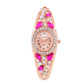 Designer Inspired - STRADA Japanese Movement Sunshine Dial Bangle Watch in Rose Gold Tone with White Austrian Crystal, Simulated AB and Pink Colour Diamond