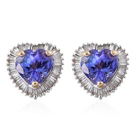 Designer Inspired- 9K Y Gold Tanzanite (Hrt), Diamond ( G to H )  Stud Earrings (with Push Back) 2.750 Ct.