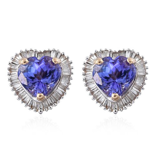 Designer Inspired- 9K Yellow Gold Tanzanite (Hrt), Diamond ( G to H ) Stud Earrings (with Push Back) 2.750 Ct.