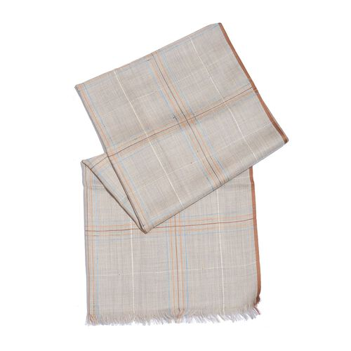 92% Merino Wool and 8% Silk Grey, Brown and Multi Colour Checks Pattern Scarf with Fringes (Size 180X70 Cm)