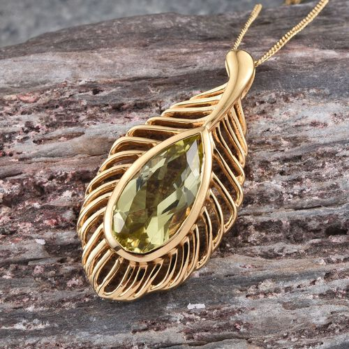 Natural Ouro Verde Quartz (Pear) Solitaire Pendant With Chain in 14K Gold Overlay Sterling Silver 3.750 Ct.