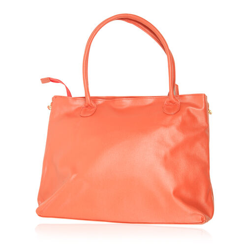 Tangerine Colour Hand Bag (Size 16x12x5.4 inch)