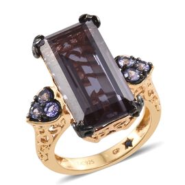 GP Alexandria Quartz (Bgt), Tanzanite and Kanchanaburi Blue Sapphire Ring in 14K Gold Overlay Sterling Silver 13.000 Ct.