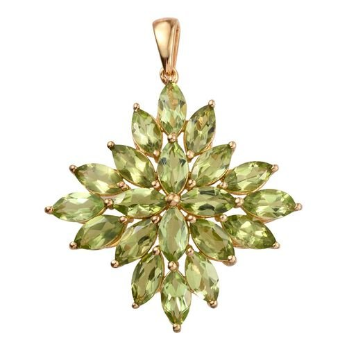 AA Hebei Peridot (Mrq) Cluster Pendant in 14K Gold Overlay Sterling Silver 10.000 Ct.
