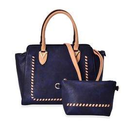 Set of 2 - Navy and Dark Beige Colour Tote Bag with External Zipper Pocket (Size 30x27x11 Cm) and Crossbody Bag (Size 23x15x5 Cm) and Adjustable and Removable Shoulder Strap