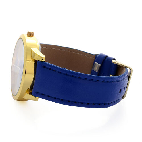 STRADA Japanese Movement Christmas Tree Printed Yellow Dial Water Resistant Watch in Gold Tone with Blue Strap