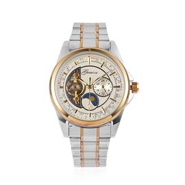 DOD- GENOA Automatic Skeleton White and Golden Dial Water Resistant Watch in Silver Tone with Chain Strap