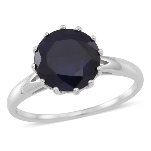 Blue Sapphire (Rnd) Solitaire Ring in Rhodium Plated Sterling Silver 4.500 Ct.