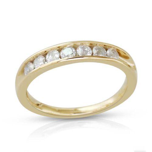 9K Y Gold SGL Certified Diamond (Rnd) (I3/ G-H) Half Eternity Band Ring 0.500 Ct.