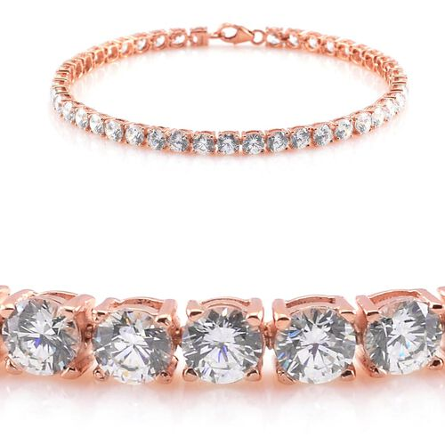 J Francis - Rose Gold Overlay Sterling Silver (Rnd) Bracelet (Size 7.5) Made with SWAROVSKI ZIRCONIA