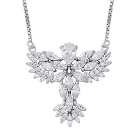 ELANZA AAA Simulated White Diamond (Pear) Adjustable Necklace (Size 16 to 30) in Rhodium Plated Sterling Silver, Silver wt 8.25 Gms.