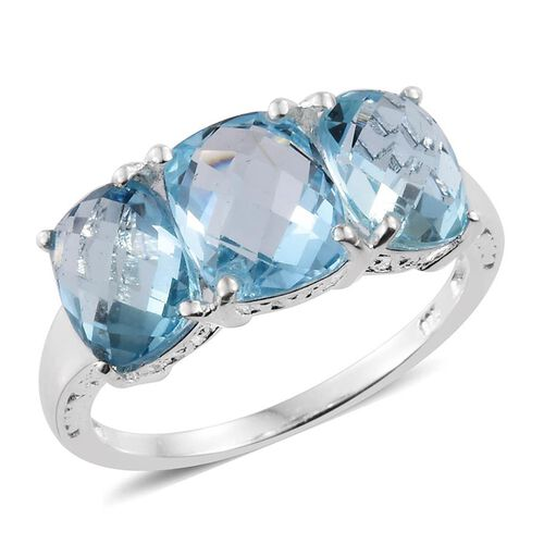 One Time Deal-Sky Blue Topaz (Cush) 3 Stone Ring in Sterling Silver 8.500 Ct.