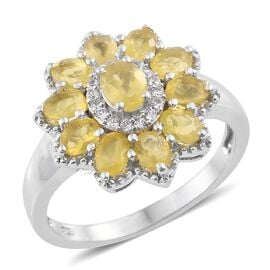 Natural Canary Opal (Ovl), Natural Cambodian Zircon Floral Ring in Platinum Overlay Sterling Silver 1.500 Ct.