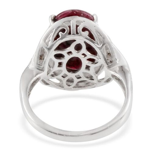 Russian Eudialyte (Ovl 4.50 Ct), Rhodolite Garnet Ring in Platinum Overlay Sterling Silver 4.550 Ct.