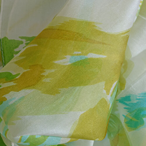 100% Mulberry Silk Green and Multi Colour Abstract Pattern Scarf (Size 180x50 Cm)
