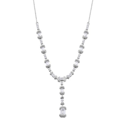 J Francis - Platinum Overlay Sterling Silver (Oct) Necklace (Size 18) Made with SWAROVSKI ZIRCONIA