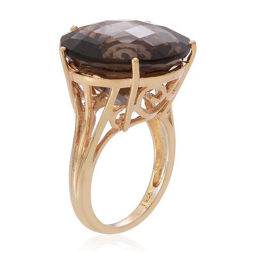 Brazilian Smoky Quartz (Rnd) Ring in 14K Gold Overlay Sterling Silver 21.000 Ct.