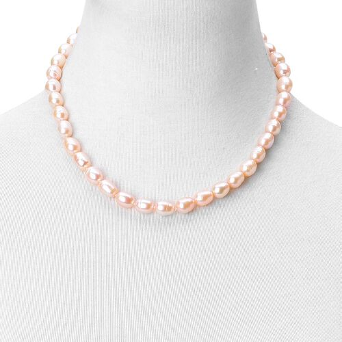 Fresh Water Peach Pearl Necklace (Size 18 with 2 inch Extender) in Rhodium Plated Sterling Silver