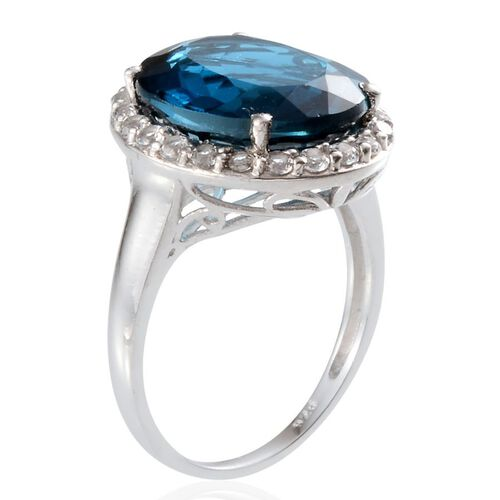 London Blue Topaz (Ovl 10.00 Ct), White Topaz Ring in Platinum Overlay Sterling Silver 10.750 Ct.