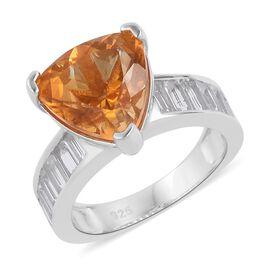 Uruguay Citrine (Trl 4.00 Ct), White Topaz Ring in Platinum Overlay Sterling Silver 5.500 Ct.