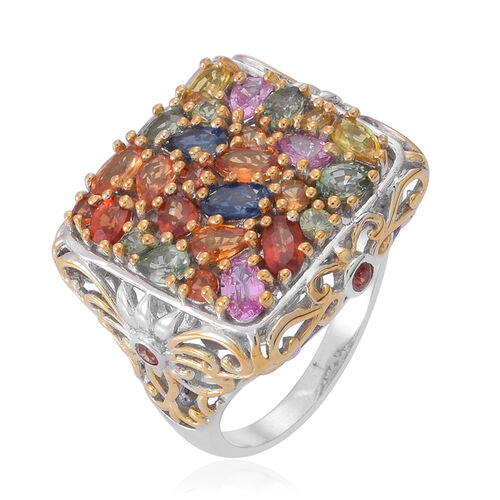 Sunset Sapphire (Ovl), Orange Sapphire, Green Sapphire, Pink Sapphire, Yellow Sapphire, Madagascar Blue Sapphire and Multi Gem Stone Ring in Rhodium Plated Sterling Silver 5.470 Ct.
