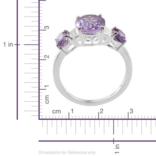 Rose De France Amethyst (Ovl 2.25 Ct) 3 Stone Ring in Sterling Silver 3.000 Ct.