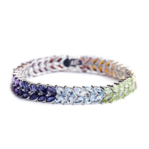 Sky Blue Topaz (Mrq), Hebei Peridot, Madeira Citrine, Amethyst, Iolite, Garnet and Citrine Rainbow Bracelet in Rhodium Plated Sterling Silver (Size 7.5) 32.000 Ct.