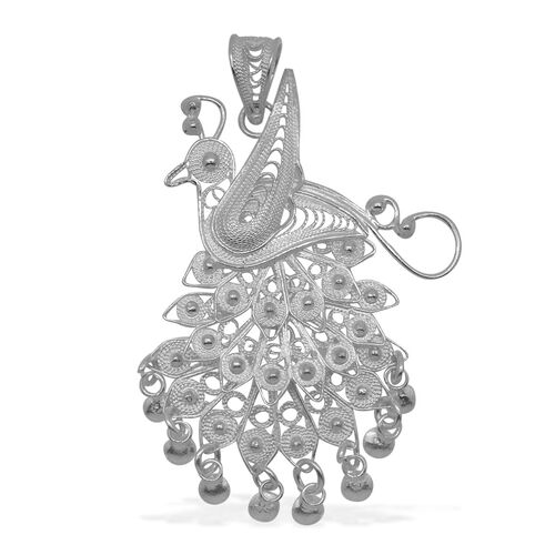 Royal Bali Collection Sterling Silver Peacock Pendant, Silver wt 5.02 Gms.