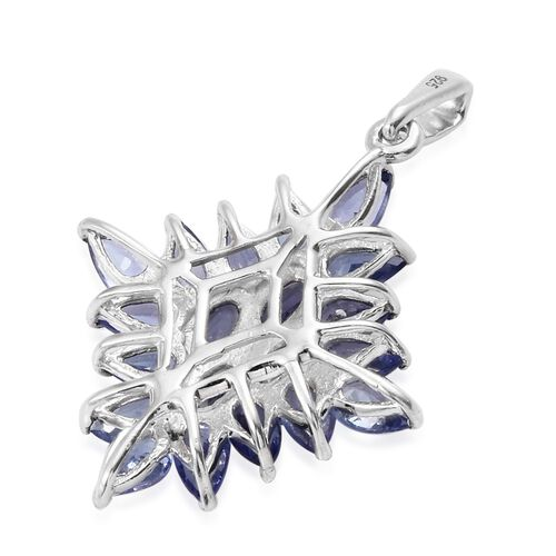 Tanzanite (Pear), Natural Cambodian Zircon Cluster Pendant in Platinum Overlay Sterling Silver 4.000 Ct.