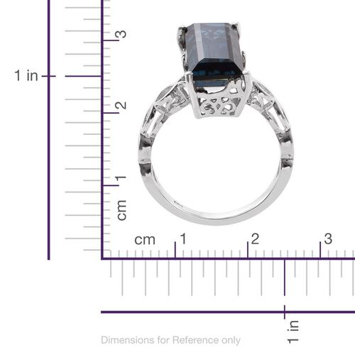 Indicolite Quartz (Bgt) Ring in Platinum Overlay Sterling Silver 10.750 Ct.