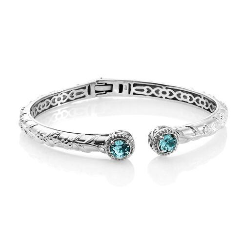 J Francis Crystal from Swarovski - Light Turquoise Crystal (Rnd) Bangle (Size 7.5) and Stud Earrings (with Push Back) Platinum Plated