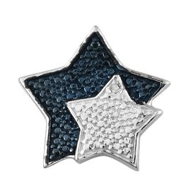 Blue and White Diamond (Rnd) Star Pendant in Platinum Overlay Sterling Silver