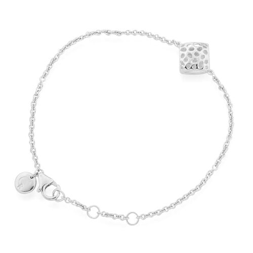 RACHEL GALLEY Rhodium Plated Sterling Silver Memento Diamond Bracelet (Size 8)
