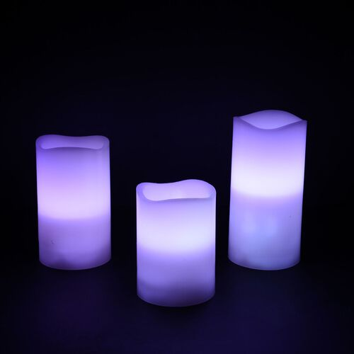 Set of 3 - 12 Colour Changing LED Flameless Wax Blowing White Colour Candles with a Remote Control (Size 7.5x10/ 7.5x12.5/ 7.5x15 cm)