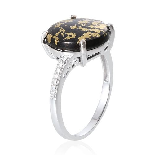 Goldenite (Rnd) Solitaire Ring in Platinum Overlay Sterling Silver 6.750 Ct.