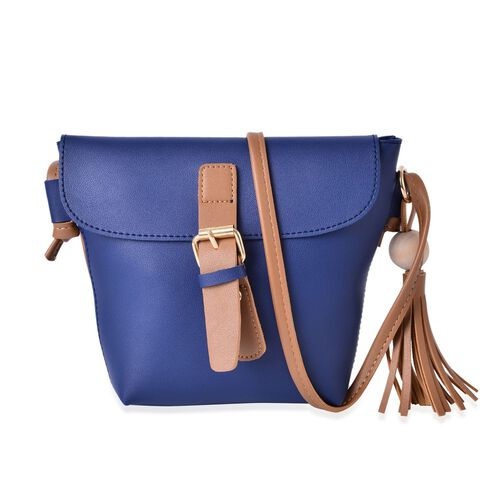 Blue and Dark Beige Colour Crossbody Bag with Tassels and Shoulder Strap (Size 24.5x19x15.5x6 Cm)