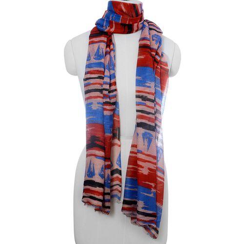 100% Modal Digital Multi Colour Stripy Pattern Scarf (Size180x70 Cm)