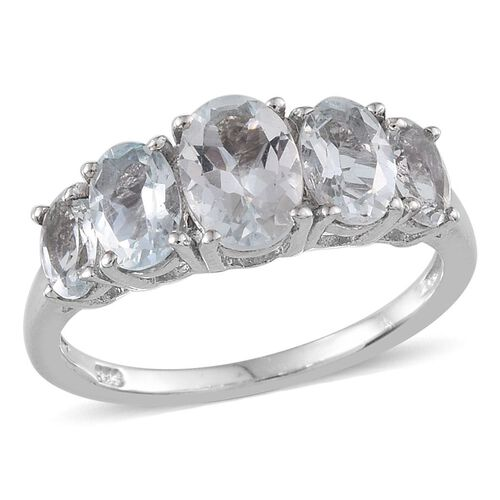 Espirito Santo Aquamarine (Ovl 0.50 Ct) 5 Stone Ring in Platinum Overlay Sterling Silver 1.750 Ct.